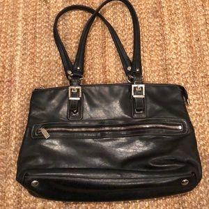 PERLINA black leather satchel bag